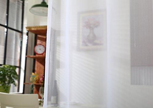 WOLTU VH5515ws Gardine Vorhang transparent mit 50mm KRÄUSELBAND Stores Schal Fensterschal Dekoschal Voile 140×225 cm Weiß - 6