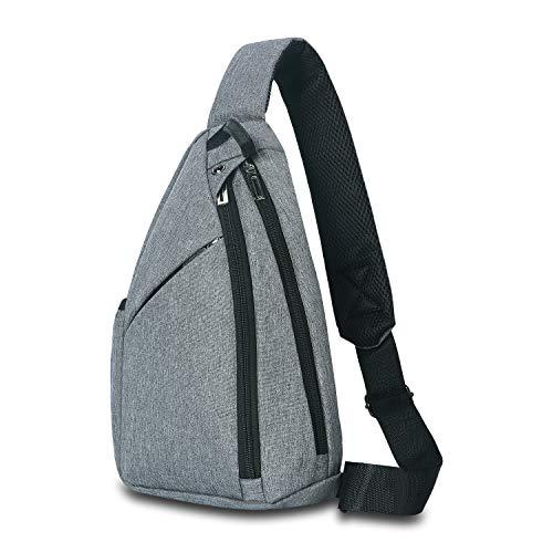 UNIQUEBELLA Brusttasche Herren, Sling Schultertasche Rucksack Umhängetasche für Outdoor Wandern Sport (Grau) Bella Sling