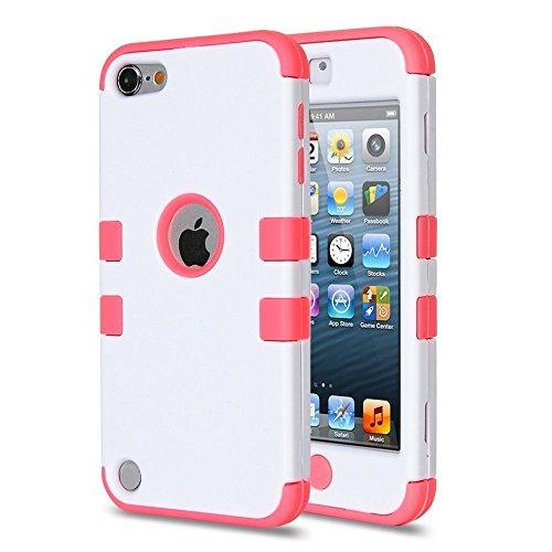 ULAK - Cover Ibrida Rigida per Apple iPod Touch 6th / 5th - Cover iPod Touch 6 Custodia Case Triplo strato protettivo in silicone robusto per iPod Touch 5g / 6g (Rosa + Bianco)