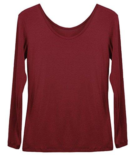 Smile YKK One Size Runde Kragen Frauen Lange Ärmel Shirt Oberteil aus Modal Dunkelrot
