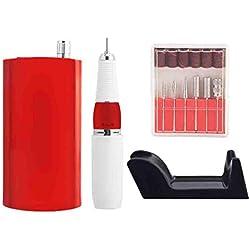 Ponceuse pour Ongles Broyeur de charge portatif de famille professionnelle de clou d'individu de famille de salon de clou avec la tête de meulage 100 / 240v,Red