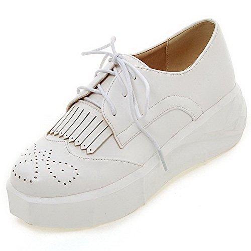 AgooLar Femme Couleur Unie Pu Cuir à Talon Correct Rond Lacet Chaussures Légeres Blanc
