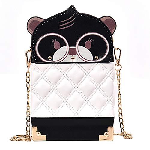 LJSHU Frauen Umhängetasche Pu-Leder Wasserdicht Kreative Creme Bär Kette Vertikalschnitt Platz Wilde Mode Persönlichkeit Umhängetasche Handtasche,White -