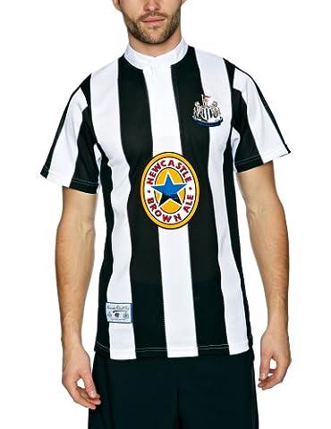 Newcastle United 1996 Men's T-Shirt de Football rétro Large - Noir/blanc