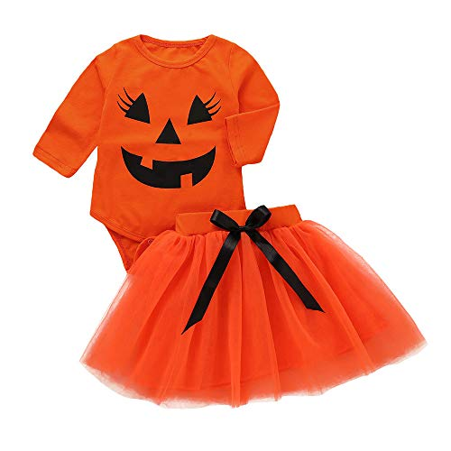 sunnymi Baby Mädchen Halloween Kürbis Kleid Kostüm Outfits Für 1-5 Jahre