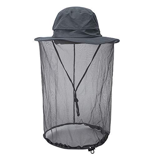 Faletony Kopfnetz Moskito Sonnenhut, Mückenschutz UV Schutz Buschhut Anglerhut Fischerhüte Safari Moskitonetz Hut für Damen Herren (dunkel-Grau)