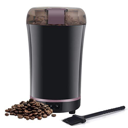 Elektrische Kaffeemühle 300W Kaffeebohnen Nüsse Gewürze Getreide Kaffeemühle mit Edelstahlmesser, 60g Fassungsvermögen Schwarz