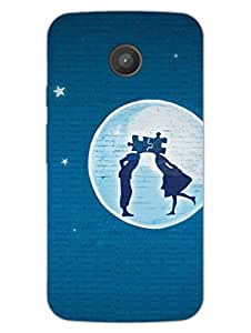 Moto E Back Cover - Couple In The Dark Night - Moonlight - Designer Printed Hard Shell Case