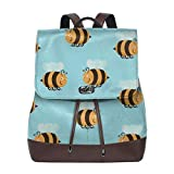 Flyup Women's Leather Backpack Bumblebee Bee School College Bag Elegant Casual Daypack Travel Shoulder Bag For Mens Zaino in pelle da donna