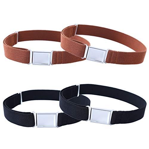 Kajeer 4 Stück Gürtel für Jungen Mädchen Verstellbar - Großer Elastischer Stretchgürtel mit einfacher Magnetschnalle für 2-15 jährige Jungen und Mädchen (2 Kaffee / 2 Schwarz) - Hosenträger Kinder Für Große