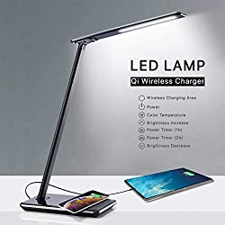 QBOX Lampada da Scrivania LED con Base di Ricarica Wireless e Porta USB | Lampada da Tavolo Ufficio Comodino Moderna Luce per Lettura | Desk Lamp Touch | 4 Livelli di Illuminazione Dimmerabile