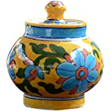 BLUE DÉCOR Handpainted Yellow Pottery Sugar Pot Container