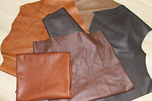 Lederreste Bastelleder Lederstücke 1 Kg Braun (Verschiedene Töne), Alle Stücke Mind. DIN A4 - Zum Basteln und Nähen -