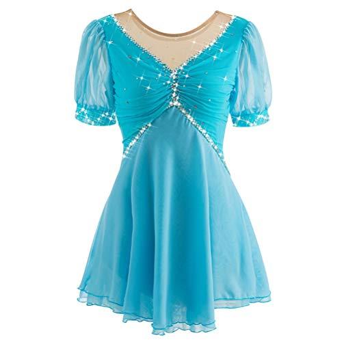 HAOBAO Eiskunstlauf-Kleid für Mädchen-Frauen Eislauf-Wettbewerb Abschneiden Handgemachte Professionelle Eislaufbekleidung Kurzarm Kundengebundene Größe, XS
