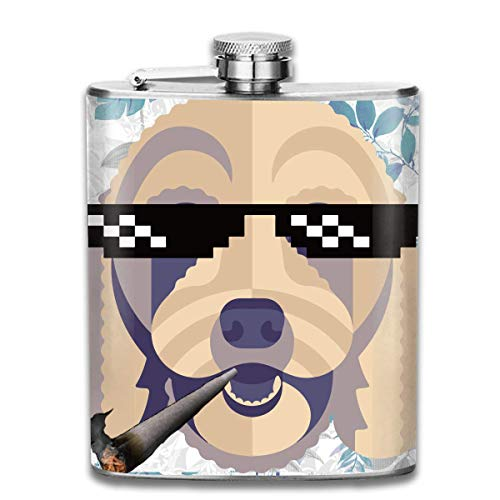 FGRYGF Edelstahlflasche Dog Eyeglasses Fashion Portable Stainless Steel Flachmann Whiskey Bottle for Men and Women 7 Oz
