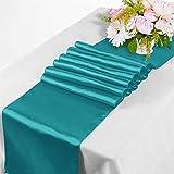 TtS 10er Pack Satin Tischläufer 30x275cm Tischwäsche Tischband Tischdecke Hochzeit Bankett Dekoration Party -Türkis - 2