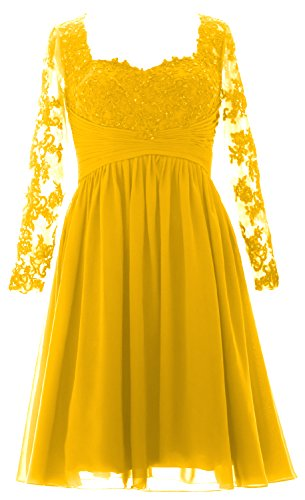MACloth Vintage Long Sleeves Mother of Bride Dress Short Evening Formal Gown yellow