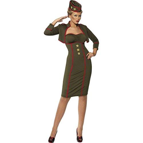 Sexy Soldatin Kostüm Offizierin Khaki L 44/46 Soldatinnen Militär Outfit Uniform Soldatinnenkostüm Soldat Kostüm Damen (Soldat Uniform Kostüm)