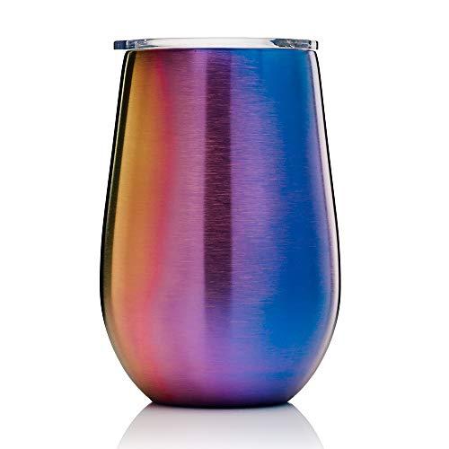 BOHORIA® Premium Edelstahl Isolierbecher | Thermo-Becher | Wein-Glas to go | Cocktail-Glas | Doppelwandig & Vakuumisoliert - (350ml) | Reisebecher mit Deckel für Kaffee, Tee, Bier, Champagner