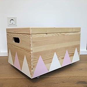 Holz Spielzeugkiste Weiß/Pink - Rollen Triangel skandinavisch mit Deckel