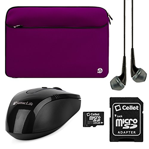 VangoddyTM VanGoddy Neoprene Sleeve Cover for Toshiba Satellite Click 2 Pro 13.3-inch Laptops + Black VG Headphones + Black SumacLife USB Mouse + 16GB Memory Card (Purple)