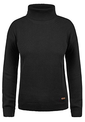 DESIRES Sina Damen Rollkragenpullover Waffelstrick Pullover Mit Rollkragen Aus 100% Baumwolle, Größe:XL, Farbe:Black (9000)