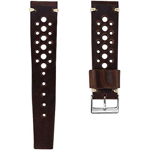 Cinturino orologio Geckota® Vera pelle Perforato Marrone cioccolato, Spazzolato, (Rolex In Acciaio Inossidabile Oyster)
