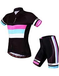 Docooler Maillots de Cyclisme Femmes Vêtements de Cyclisme Respirant Confortable Cycling Jersey Manches Courtes Cuissard Cyclisme avec Rembourré de Vélos