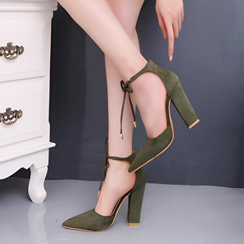 Transer ® Femmes sandales dété dames escarpins sexy chaussures à talons hauts Vert