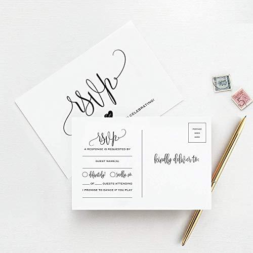 RSVP Postkarten für Hochzeit, 50 Stück Antwortkarten, perfekt für Brautpartys, Abendessen, Verlobungsfeier, Babyparty oder andere besondere Anlässe - von Bliss Paper Boutique