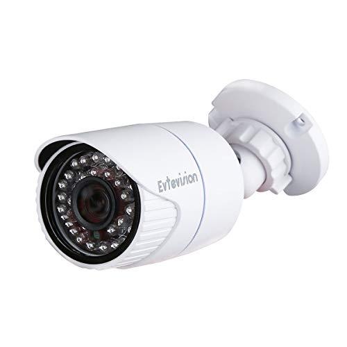 Evtevision 2MP H.265 PoE Cámara IP Security,Power Over Ethernet, Vigilancia Doméstica Bullet Cámara, Nube P2P, Detección de Movimiento, Cámaras de Noche al Aire Libre al Aire Libre