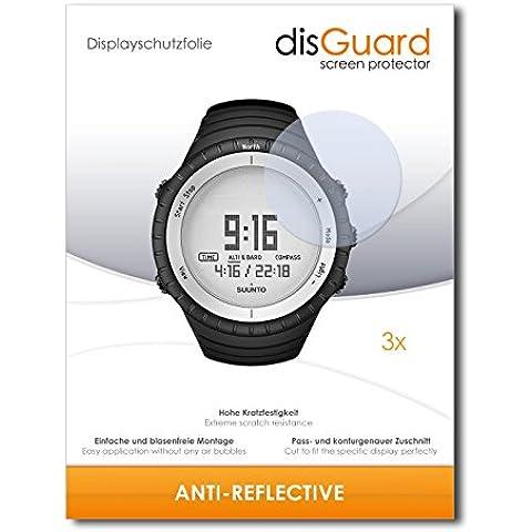 3 x disGuard Anti-Reflective Lámina de protección para Suunto Core Glacier Gray - ¡Protección de pantalla antirreflectante con recubrimiento duro! CALIDAD PREMIUM - Made in Germany
