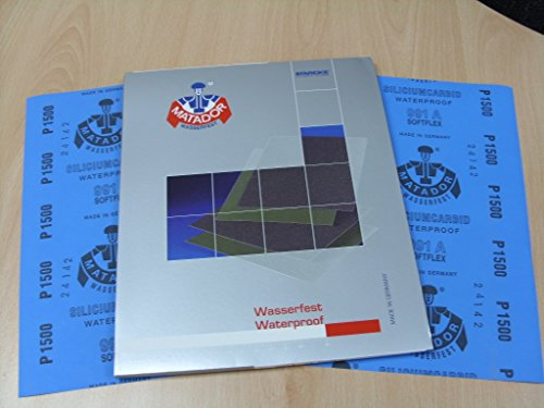 Starcke Matador Wet and dry sandpaper. A Weight 1 pack of 10 sheets 1500 Grit