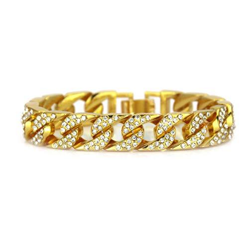 AlonSwallow 14 Karat Vergoldete Mode Armband Schmuck Hip Hop Herren Voller Diamanten Armband Beschichtung Legierung Armband Mit Schönen Box (14-karat Gold Charm Bracelet)