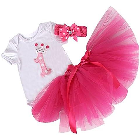 ZOEREA 3pcs neonate tuta + skirt + headband vestito vestito dal tutu maniche corte che coprono l'insieme del battesimo cerimonia nuziale del bambino