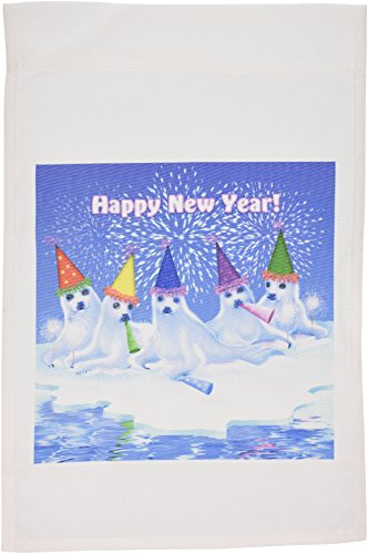 3dRose FL_11666_1 A Group of Adorable Baby Harp Seals Celebrating and Wishing Everyone a Happy New Year Gartenflagge, 30,5 x 45,7 cm - Baby Seal Harp