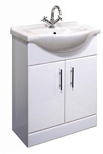 Arcadia, 650 mm, weiß glänzend (Holz-badezimmer-waschbecken Eitelkeit)