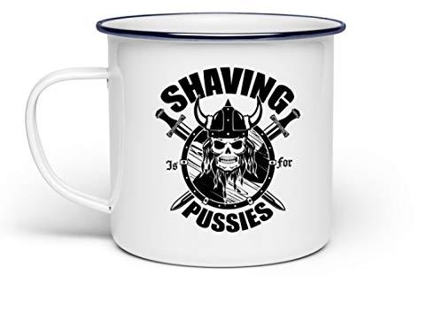Shaving is for Pussies | Bart Körperbehaarung Männer Wikinger Germanen Rocker Biker Thor - Emaille Tasse -Einheitsgröße-Weiß (Wikinger-bart Wachs)