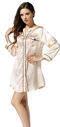 Tulpen Damen 100% Maulbeerseide Schlafanzug Klassische V-Ausschnitt Pyjamas Hellorange