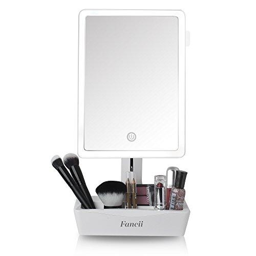 Fancii praktischer 4-in-1 Schminkspiegel I Beleuchteter LED Spiegel + 10-Fach Vergrößerung ausziehbar + 5-Fächer für Make Up & Co I 23x16cm großer Kosmetikspiegel mit Licht schwenkbar dimmbar -