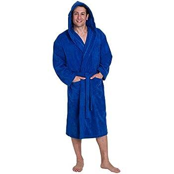 e22a258817819 John Christian - Peignoir à capuche en éponge - Bleu Azur 100% coton (XL)