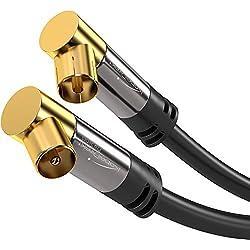 KabelDirekt 5m Câble d'antenne coaxial angulaire (mâle > femelle, connecteur angulaire, 75 Ohm, pour TV, HDTV, radio, DVB-T2, DVB-C, DVB-S) PRO Series