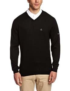 CALVIN KLEIN GOLF Men's Merino V-Neck Sweater - Black, Medium