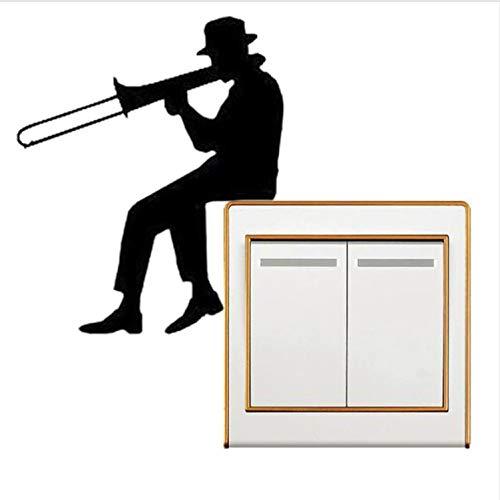 lanlanhone-127 Mann Spielt Posaune Silhouette Lichtschalter Aufkleber Musik Vinyl Wandaufkleber Wohnkultur