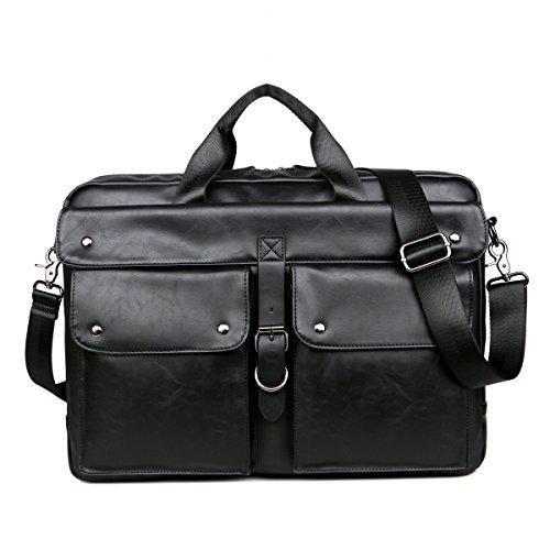 BAOSHA BC-07 Vintage PU Leder Herren Aktentasche Businesstaschen Laptoptasche groß passend für 14 ~ 17 Zoll Laptop Notebook Männer Arbeitstasche Umhängetasche Schultertaschen (Schwarz PU Leder)