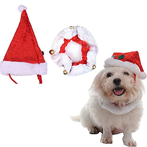 Alxcio Pet Christmas Santa Hat Jingle Bells Collar Great Novelty Outfit for Dogs Puppy Cats Costume Fancy Dress Size M