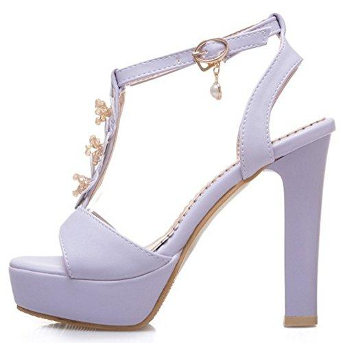 COOLCEPT Damen Mode T-Spangen Riemchen Sandalen Blockabsatz Hoch Plateau Schuhe Mit Blume Gr Violett