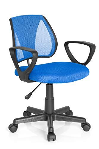 hjh OFFICE 725100 Kinder- und Jugenddrehstuhl KIDDY CD Netzstoff Blau Schreibtischstuhl mit Armlehne höhenverstellbar