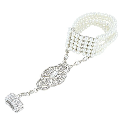 EVER FAITH Crystal Great Gatsby Inspired Bracelet Ring Set Clear N02534-1