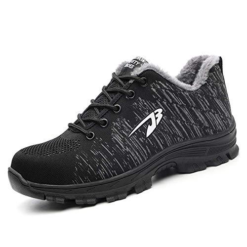CHNHIRA Chaussure de securité Homme Basket securite Femmes Militaire Protection Travail Confortable (EU43 Z Noir Laine)